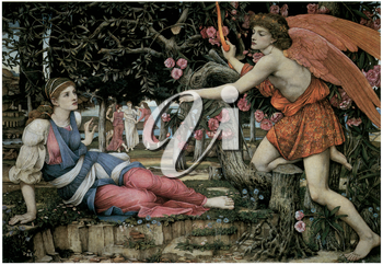 Royalty Free Clipart Image of Love and the Maiden by John Roddam Specer Stanhope