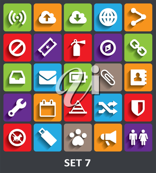 Trendy Vector Icons With Shadow. Set 7