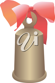 Illustration of a hand bell with a bow on a white background