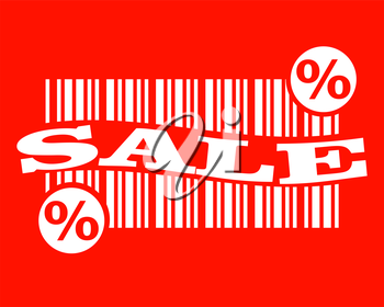 white barcode on red backdrop with sale text and percent sign