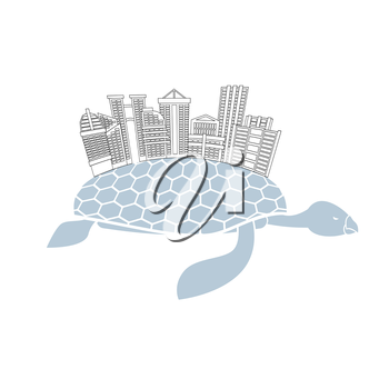Metropolis on shell water turtles. City skyscrapers and office buildings on reptiles. Logo of  new modern district.