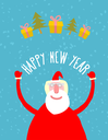 Good Santa Claus with gifts. Grandfather with a white beard in red clothing. Vector illustration Greeting card Happy new year.