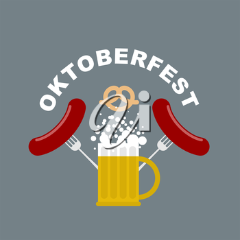 Oktoberfest logo. Beer mug with foam. Fried sausages and fork. Pretzel, beer snack. Vector Emblem for Beer Festival in Germany. Traditional food and alcohol.