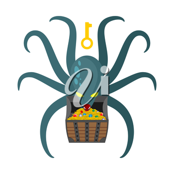 Octopus guarding pirate treasures . Gold chest kraken. Cthulhu and gold jewelry. Dreaded clam Monster keeps tentacled chest with precious stones and gold coins