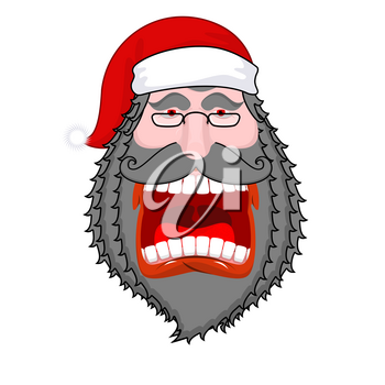 Evil  dark Santa Claus shouts. Black beard and mustache. Negative grandfather. Aggressive old man. Unhappy pensioner. Christmas illustration