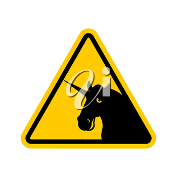 Attention unicorn. Dangers of yellow road sign. LGBT Caution
