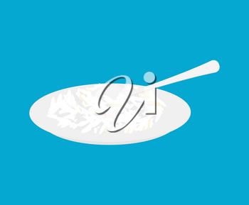 Basmati rice Porridge in plate and spoon isolated. Healthy food for breakfast. Vector illustration