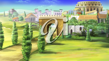 Digital painting of the ancient roman road with Triumphal Arch.