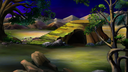 Digital painting of the African Savannah at  night with stone rock and acacia tree. Panorama.