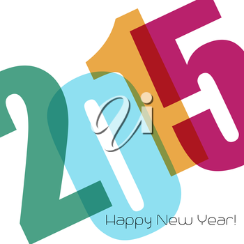 Happy new year greeting with number.  Vector illustration