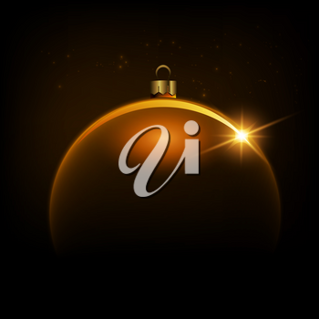 Black shiny Christmas background with gold color bauble, illustration.