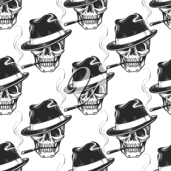 Hand drawn skull seamless pattern. Skull with cigarrette and hat vector pattern