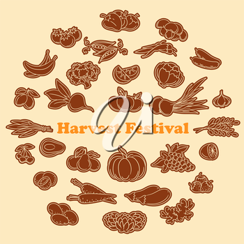 Harvest festival stickers with lined vegetables and fruits icon set. Vector illustration