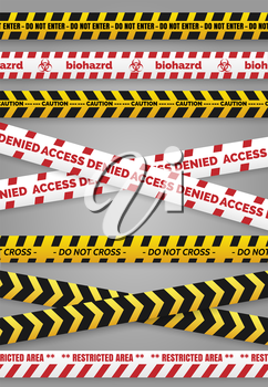 Danger construction tapes and caution police tapes isolated vector signs