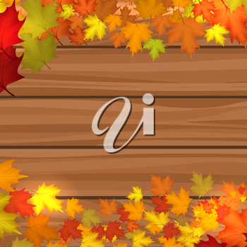 Wood background with autumn maple leaves vector illustration