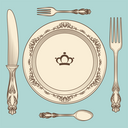 Hand drawn vintage cutlery and plate on blue background. Vector illustration