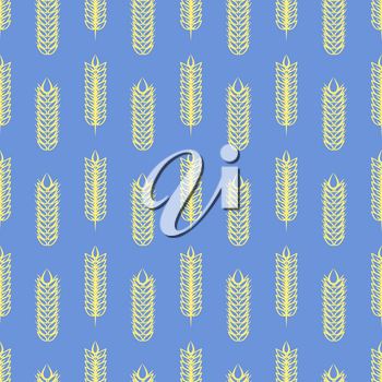 Yellow wheat on blue backrop. Vector agriculture seamless pattern design