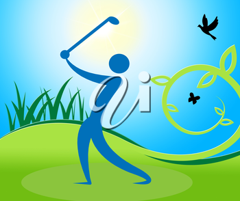 Golf Swing Man Indicating Fairway Golfer And Playing