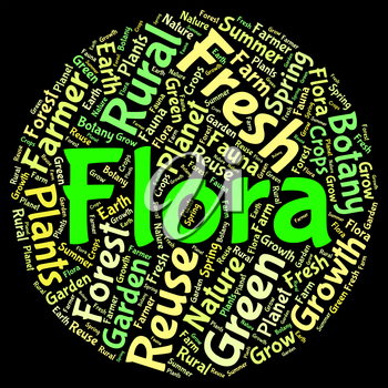 Flora Word Indicating Plant Life And Plants