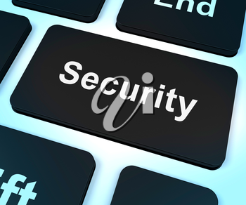 Security Computer Key Shows Privacy And Safety