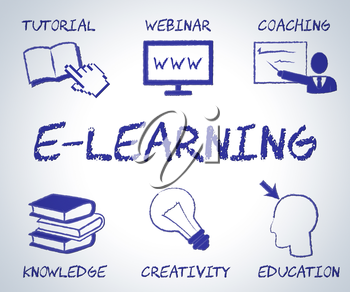 Elearning Online Indicating Web Site And Websites