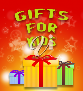 Gifts For Kids Giftboxes Shows Children's Presents 3d Illustration