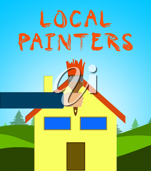 Local Painters Paintbrush Meaning Home Painting 3d Illustration