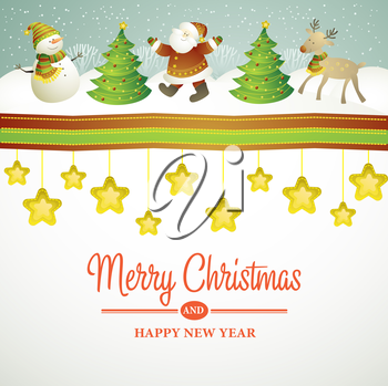 Christmas vector illustration with snowman  EPS 10