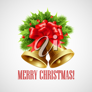 Christmas decoration  with evergreen trees, holly and bells. Vector illustration EPS 10