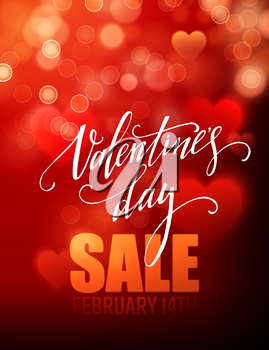 Valentines day sale, poster template on abstract background with hearts and bokeh circles. Vector illustration EPS10