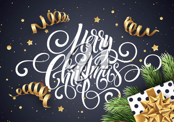 Merry Christmas handwriting script lettering. Christmas congratulatory background with a gift, streamers, confetti. Vector illustration EPS10