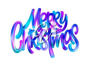 Merry Christmas paint brush gradient lettering. Xmas greeting. Blue and pink brush strokes. Oil paint smears. Merry Christmas acrylic lettering. Banner, poster design element. Isolated vector