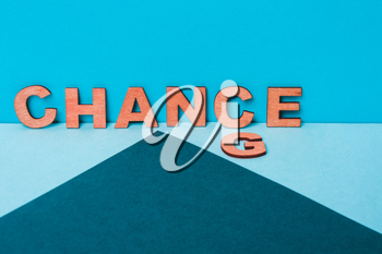 word Change to Chance from wooden letters. Personal development, career growth or change yourself, become better