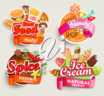 Food and drink elements, Typographical Design Label or Sticker - fast food, spice, candy shop, ice cream - Design Template. Vector illustration.