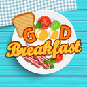 English breakfast - fried egg, tomatoes, bacon and toast. Top view. Blue wood texture. Lettering - good morning, vector illustration.