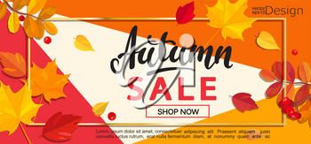 Modern banner for autumn sale on geometric background. Vector illustration.