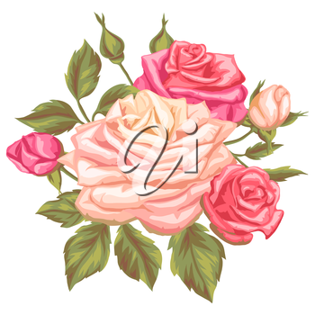 Floral element with vintage roses. Decorative retro flowers. Image for wedding invitations, romantic cards, booklets.