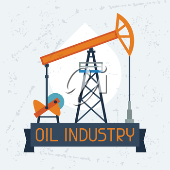 Oil pump jack background. Industrial illustration in flat style.