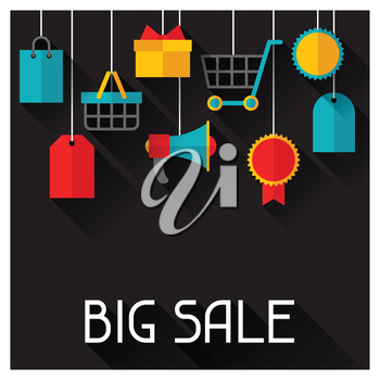 Background with sale and shopping icons in flat design style.
