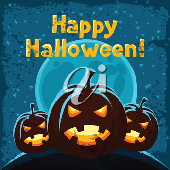 Happy halloween greeting card with angry pumpkins.