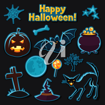 Happy halloween sticker set with characters and objects.