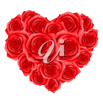 Heart of red realistic roses. Happy Valentine day greeting card.