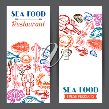 Banners with various seafood. Illustration of fish, shellfish and crustaceans.