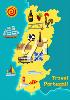 Portugal map. Portuguese national traditional symbols and objects.