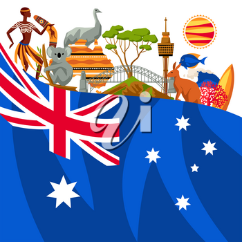 Australia background design. Australian traditional symbols and objects.
