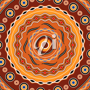 Ethnic circle background design. Australian traditional geometric ornament.