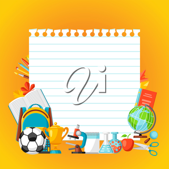 School background with education items. Illustration of colorful supplies and stationery.