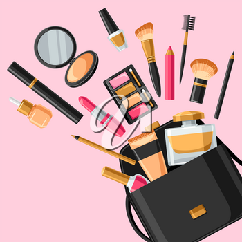 Cosmetics for skincare and makeup out of bag. Background for catalog or advertising.