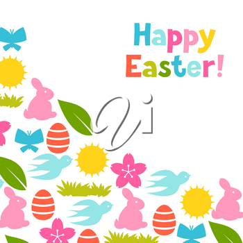 Happy Easter greeting card with holiday items. Background can be used for invitations and posters.