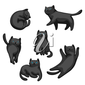 Set of cartoon black cats. Cute pets on white background.